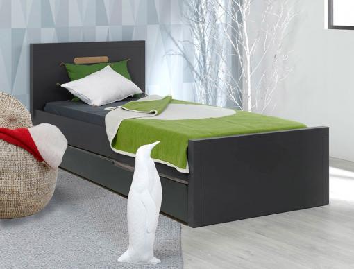 lit gigogne enfant milo anthracite 90x200 avec 2 matelas. Black Bedroom Furniture Sets. Home Design Ideas