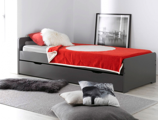 lit gigogne enfant f ro anthracite 2 matelas 2 lits enfants gain de place. Black Bedroom Furniture Sets. Home Design Ideas