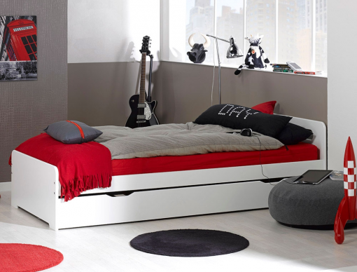 lit gigogne f ro blanc 90x200 avec 2 matelas chambrekids. Black Bedroom Furniture Sets. Home Design Ideas