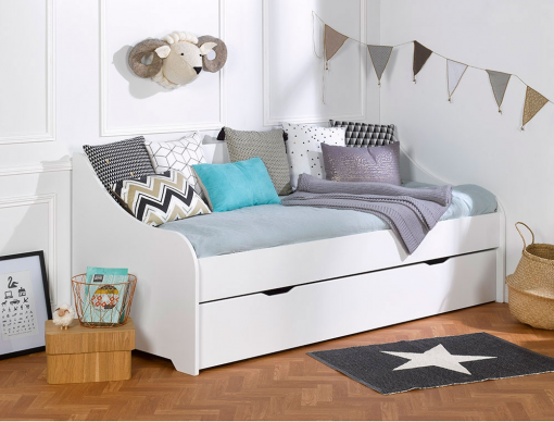 lit banquette gigogne enfant calli blanc avec deux matelas. Black Bedroom Furniture Sets. Home Design Ideas