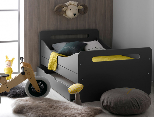 lit enfant volutif f ro anthracite tiroir et matelas un lit volutif pour gar on ou fille. Black Bedroom Furniture Sets. Home Design Ideas