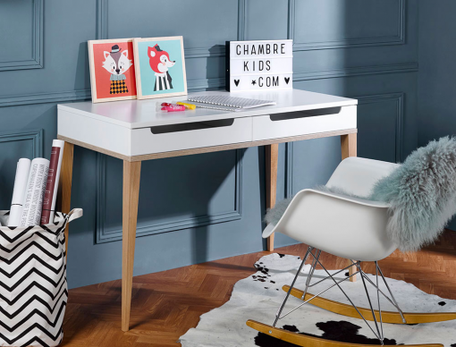 bureau enfant blanc et ch ne evidence one bureau tiroir design scandinave cologique. Black Bedroom Furniture Sets. Home Design Ideas