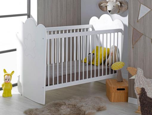 Lit bébé Linéa blanc barreaux