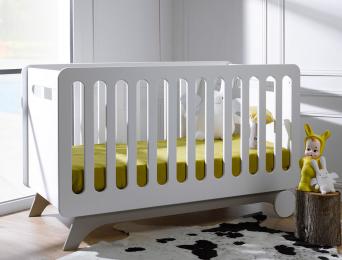 Lit bébé Bonheur blanc lin barreaux