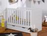 Lit bébé évolutif Module blanc barreaux et kit de conversion 70x140