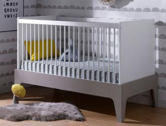 Lit bébé évolutif Paris Blanc/Lin 70x140