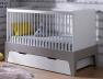 Lit bébé évolutif Paris Blanc/Lin 70x140. Tiroir en option