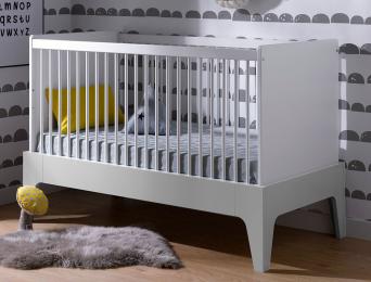 Lit bébé évolutif Paris Blanc/Gris clair 70x140