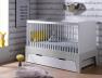 Lit bébé évolutif Paris Blanc/Gris clair 70x140. Tiroir en option