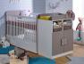 Lit bébé évolutif Madrid Blanc/Lin 70x140. Tiroir à découvrir sur le site.