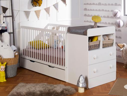 Lit bébé combiné évolutif Blanc Malte 70x140