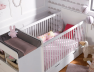 Lit bébé évolutif Malte Blanc avec son tiroir de rangement et sa commode avec plan à langer