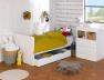 Lit bébé évolutif Malte Blanc avec commode en version lit enfant