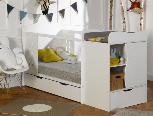lit combin volutif b b belem blanc chambrekids. Black Bedroom Furniture Sets. Home Design Ideas