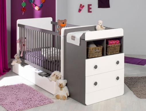 chambre b b volutive malte taupe blanc tiroir et matelas chambrekids. Black Bedroom Furniture Sets. Home Design Ideas