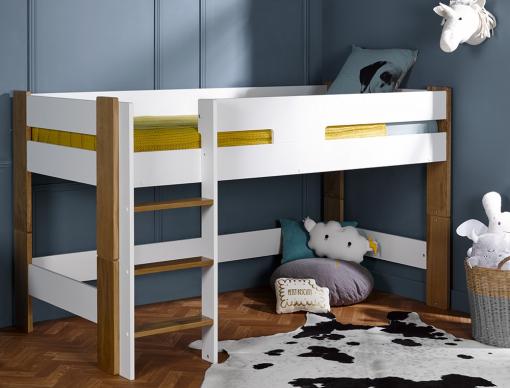 lit mi hauteur enfant scandi blanc 90x190 chambrekids. Black Bedroom Furniture Sets. Home Design Ideas