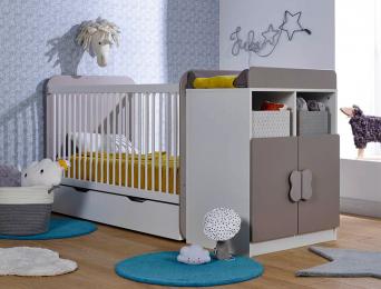 Chambre évolutif bébé Madrid Blanc/Lin matelas+tiroir