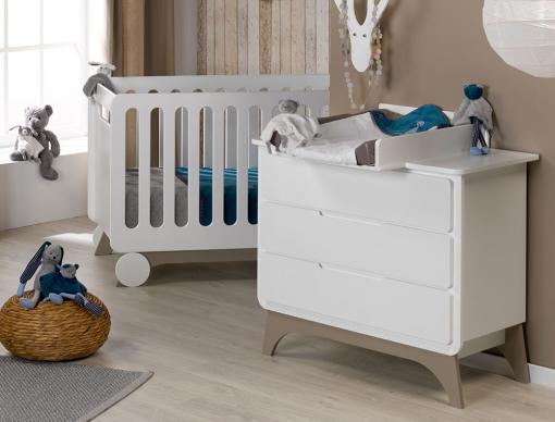 Chambre bébé Bonheur Blanc & Lin avec lit bébé, commode à langer 3 ...