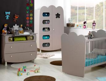 Chambre bébé Linéa sable lin lit barreaux