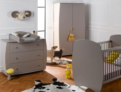 Chambre bébé Médéa sable lin couchage 60x120