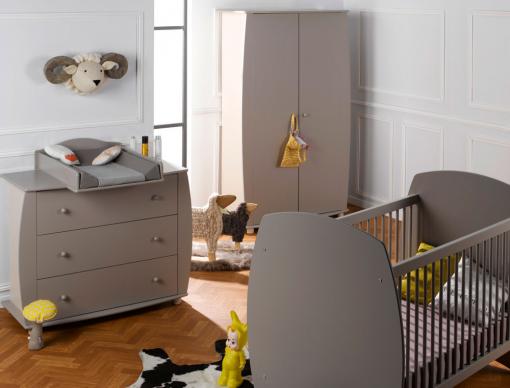 chambre bébé complète : armoire, commode, lit - médéa sable/lin