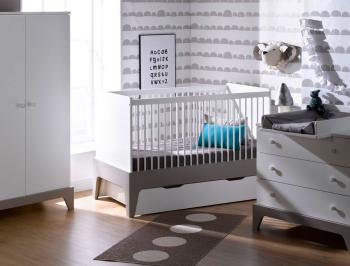 Chambre bébé Paris blanc lin. Armoire, commode et lit bébé couchage 70x140 cm