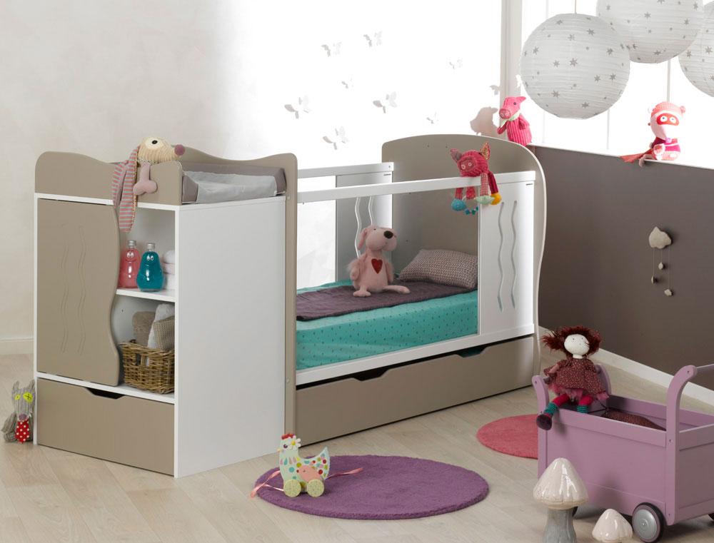 chambre b b volutive belem lin blanc tiroir et matelas fabriqu e en france. Black Bedroom Furniture Sets. Home Design Ideas