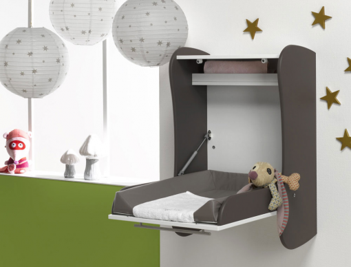 Table langer murale chambre b b taupe - Table a langer lit bebe ...