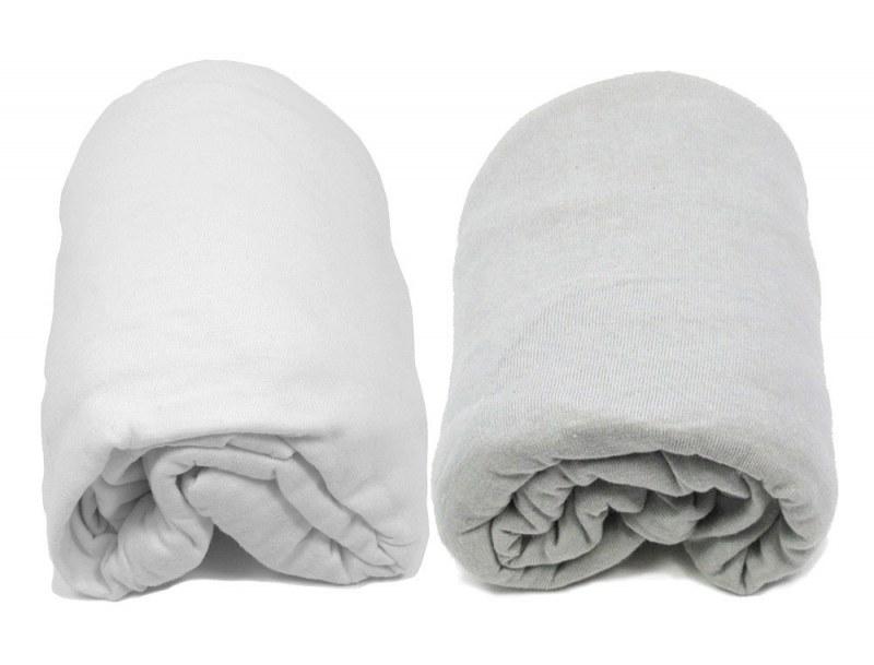 Lot de deux Draps Housse : Blanc & Gris 60x120