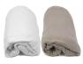 Lot de deux Draps Housse : Blanc & Taupe 60x120