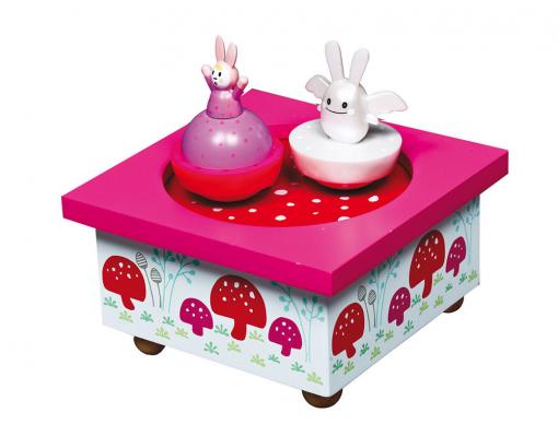 Boîte à musique ange lapin rose
