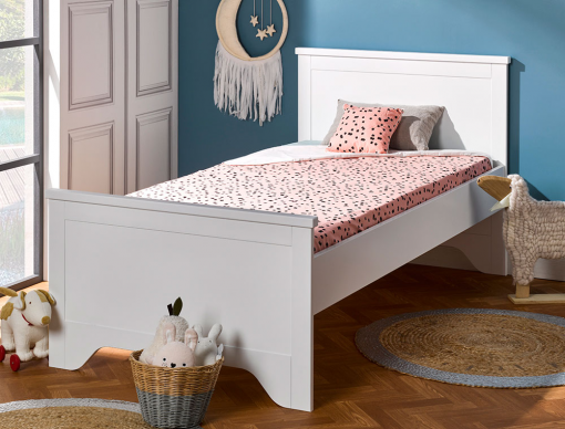 lit enfant occitane blanc 90x190 avec sommier et matelas. Black Bedroom Furniture Sets. Home Design Ideas