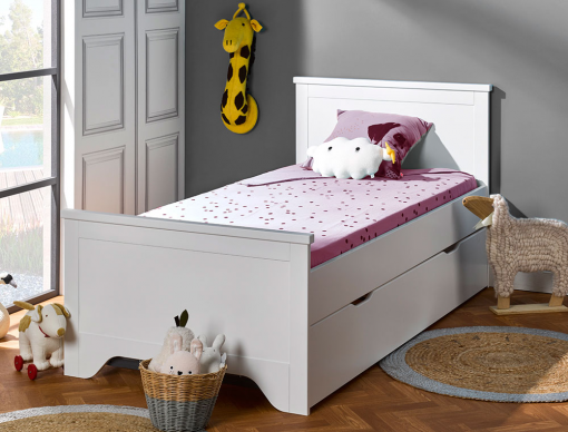 lit gigogne enfant occitane blanc 90x190 avec 2 lits enfants pour gar on ou fille. Black Bedroom Furniture Sets. Home Design Ideas