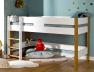 Lit enfant Scandi en position lit mi-hauteur Blanc et Hêtre teinté Chêne 90x190