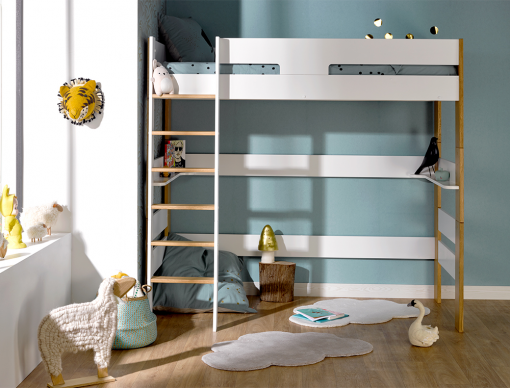 Lit mezzanine enfant Scandi Blanc et hêtre teinté chêne 90x190