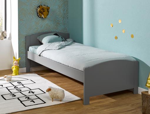 lit enfant opale gris flanelle en pin massif 90x200. Black Bedroom Furniture Sets. Home Design Ideas