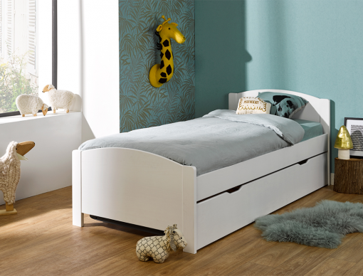 lit gigogne enfant opale blanc en pin massif 90x200 2 lits enfants l 39 un sous l 39 autre. Black Bedroom Furniture Sets. Home Design Ideas