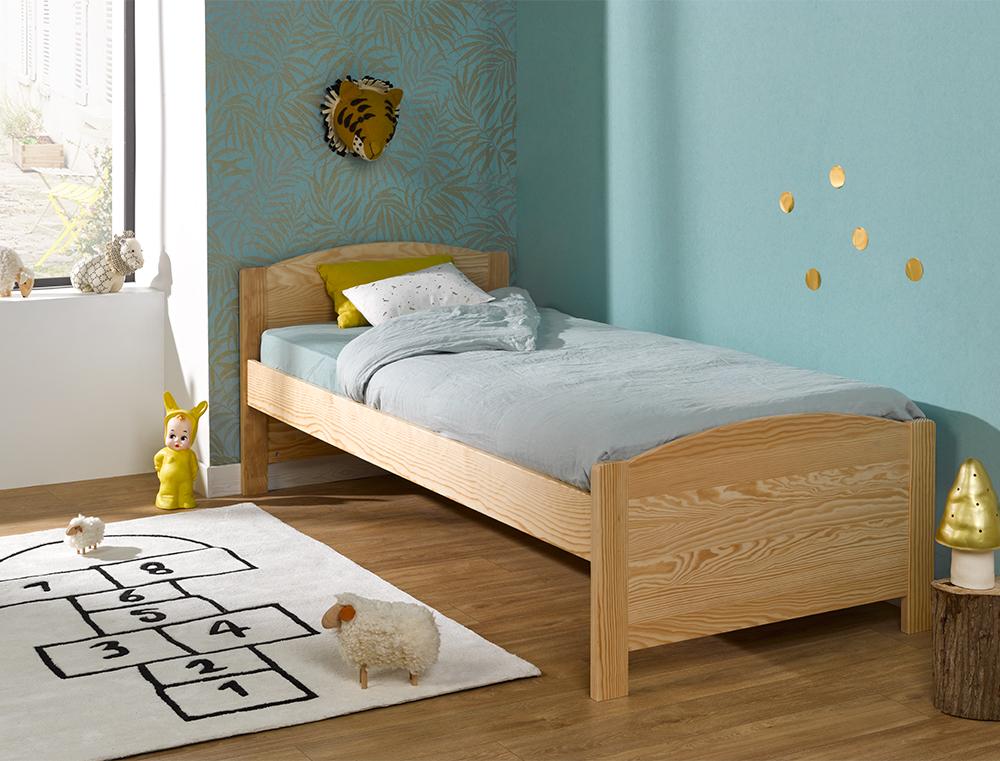 lit enfant en bois massif opale 90x200 sommier et matelas fabriqu en france. Black Bedroom Furniture Sets. Home Design Ideas