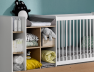 Lit combiné bébé évolutif Blanc/Bois Ecrin en version lit bébé couchage 60x120 cm