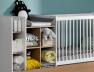 Lit combiné bébé évolutif Blanc/Bois Ecrin en version berceau couchage 60x120 cm. Tiroir lit à découvrir sur le site.