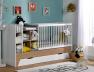 Lit combiné bébé évolutif Blanc/Bois Ecrin en version lit bébé couchage 60x120 cm avec tiroir de rangement