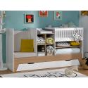 Lit bébé combiné évolutif Blanc & Bois Ecrin + tiroir