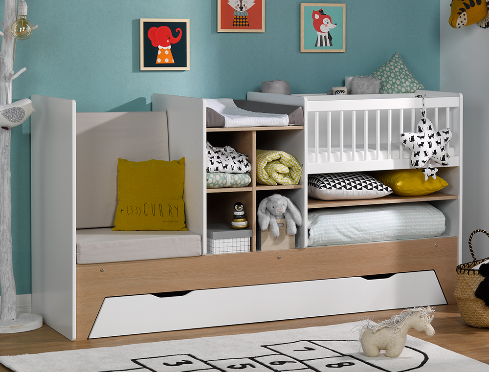lit combin b b volutif blanc bois ecrin avec tiroir chambrekids. Black Bedroom Furniture Sets. Home Design Ideas