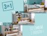 Lit combiné bébé évolutif Blanc/Bois Ecrin en version berceau couchage 40x80 cm