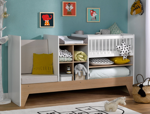 lit b b combin volutif blanc et bois avec rangement transformable en lit enfant. Black Bedroom Furniture Sets. Home Design Ideas