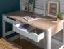 Bureau enfant Nomade blanc et bois avec deux tiroirs