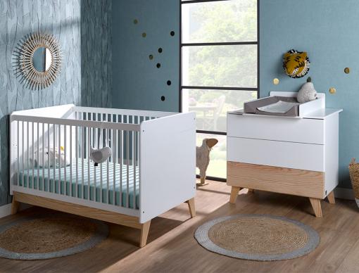 Petite chambre bébé Equilibre: lit bébé évolutif, commode et plan à ...