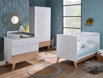 Chambre bébé complète Equilibre. Lit bébé couchage 70x140 + commode + Armoire. Plan à langer en option.