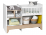 Lit bébé évolutif combiné Calisson blanc et bois en position berceau.