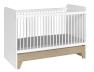 Lit bébé évolutif combiné Calisson blanc et bois en position lit bébé 70x140.